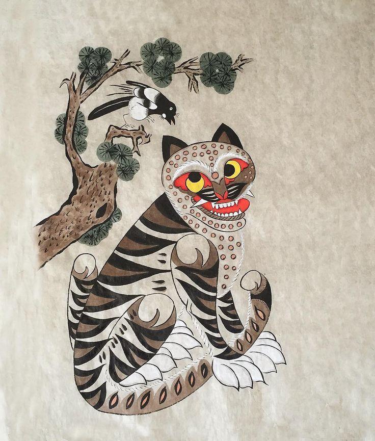"""""""새해의 액운을 막고 길복을 부르는 까치 호랑이~ #민화#민화그리기#folkpainting#koreanart#tiger#magpie 예상치 않았던 미술공부의 나날들"""""""