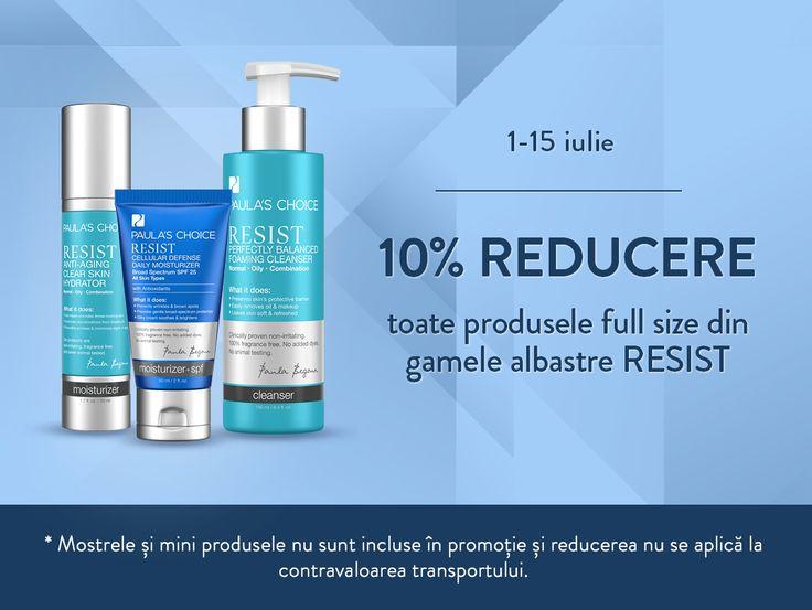 Uită de semnele îmbătrânirii pielii. Bun venit, piele radiantă și sănătoasă! Alege orice produse full size din gamele albastre ale lui Resist pentru că timp de 2 săptămâni au o reducere de 10% » www.paulaschoice.ro ► Nu uita că Moisture Boost Essential Hydrating Toner are 15% REDUCERE, până în 4 iulie!