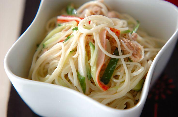 マヨネーズの量はお好みで加減して下さいね。ツナマヨ素麺サラダ[洋食/サラダ]2007.08.20公開のレシピです。