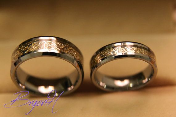 Tungsten Wedding bands set, Matching size Tungsten Wedding Ring, Inlay gold, Engraved ring promise wedding bands, His and Her promise rings