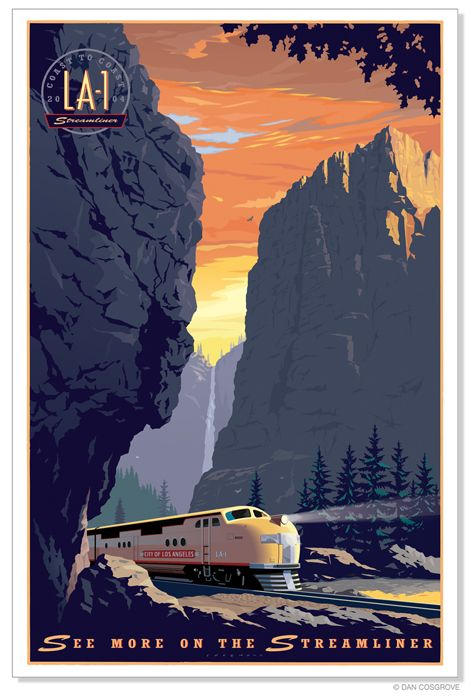 Poster of train travel by Dan Cosgrove - remarkable design emphasizes majestic peaks creates impression of movement see 3D effect on 2D surface.
