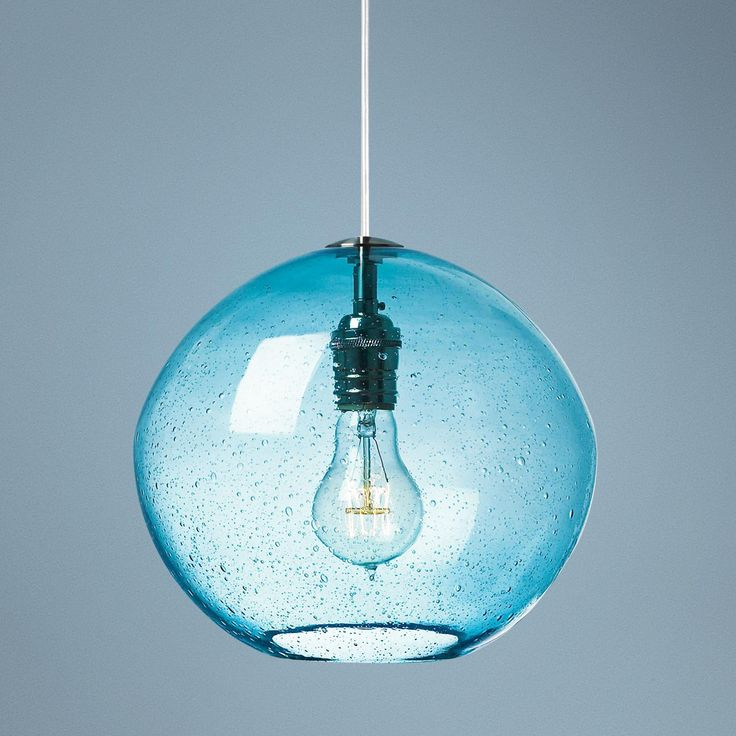 "LBL Isla Aqua Nickel 9 3/4"" Wide Pendant Light"