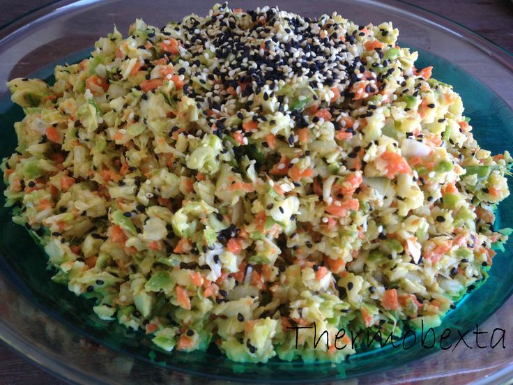 This is an awesome version of coleslaw, just a bit different to the rest! Naturally sweetened with pear, though, you won't pick it's in there. 50g sesame seeds (a mix of black and white seeds is b...