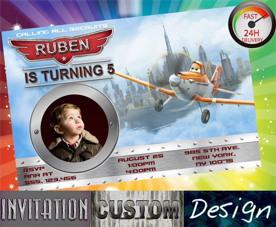 Invitations birthday disney planes Childrens Party invitation Happy First Second five invites 4x6 or 5x7 Printable Photo Invitation P001 on Etsy, 6,51 €