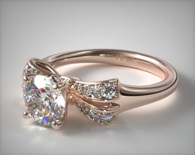 53446 engagement rings, pave, 14k rose gold pave bow engagement ring item - Mobile