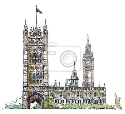 Big ben i houses of parliament, london uk. kolekcja szkic na obrazach myloview. Najlepszej jakości plakaty, fototapety, kolekcje myloview, naklejki, obrazy. Chcesz ozdobić swój dom? Tylko z myloview!