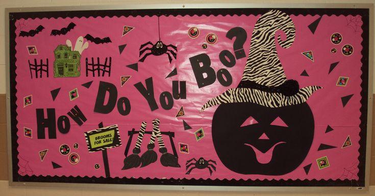 Halloween Bulletin Board Idea: I like the pumpkin with the fancy hat