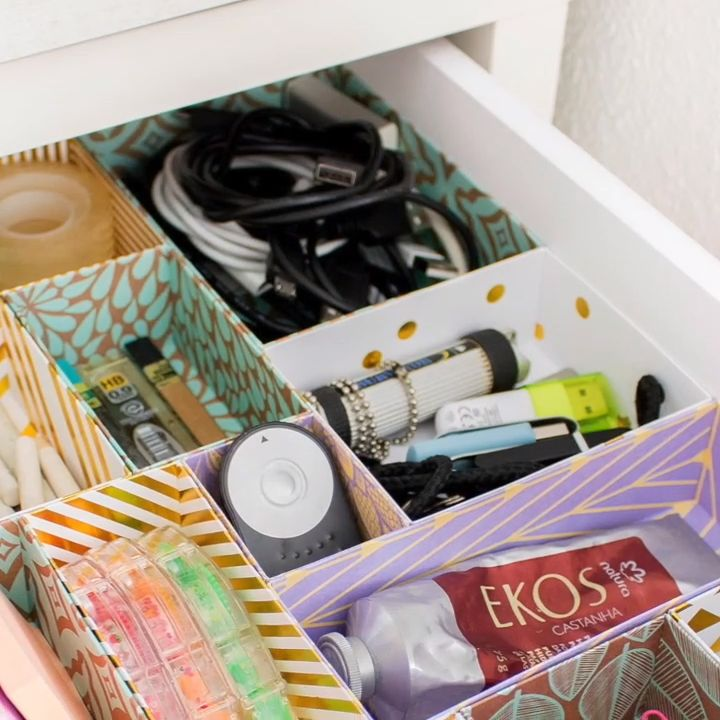 Using nothing but cardstock (plain or patterned) and glue, you can create some pretty DIY drawer dividers in a matter of minutes that will tame your drawer-mess monster.