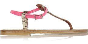 K Jacques St Tropez K.jacques St. Tropez Coriolan Snake-Effect And Neon Patent-Leather Sandals