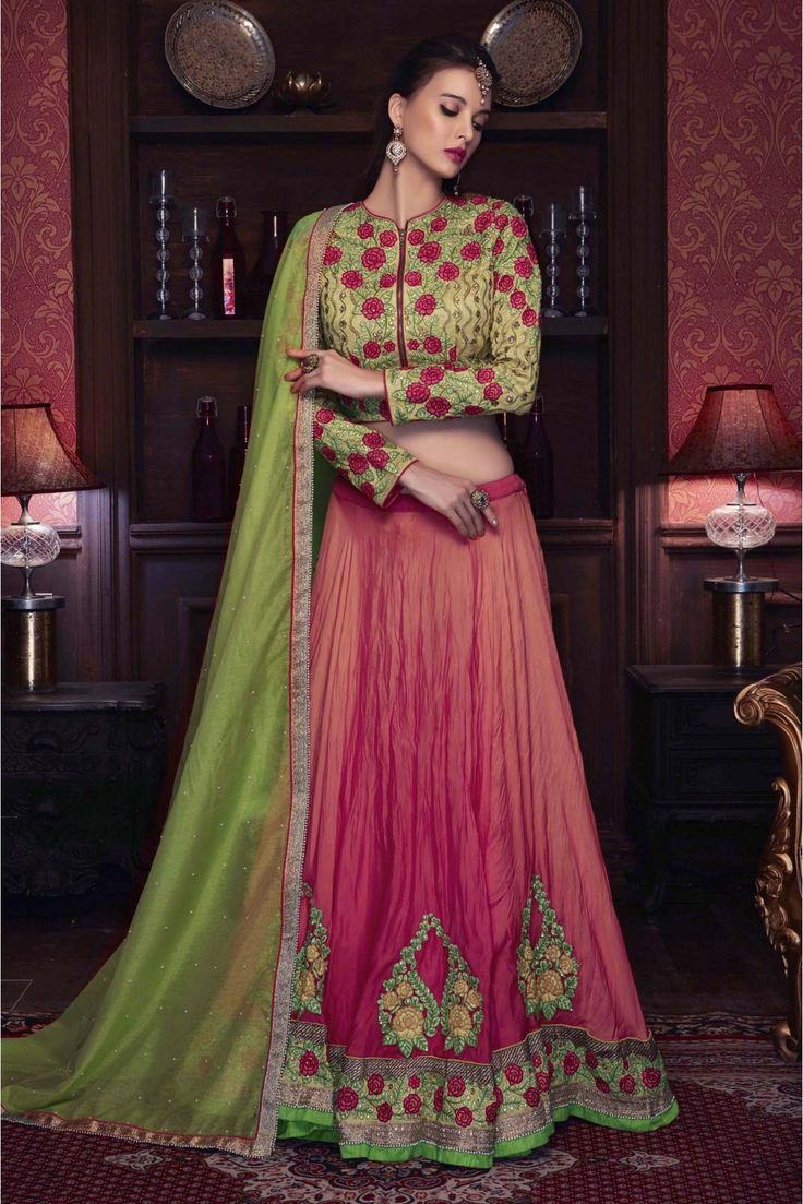 The Stylish And Elegant Lehenga Choli In Orange,Pink Colour Looks Stunning And Gorgeous With Trendy And Fashionable Thread Work,Embroidery,Lace Work,Patch Work,Diamond Work,Moti Work . The Georgette,S...