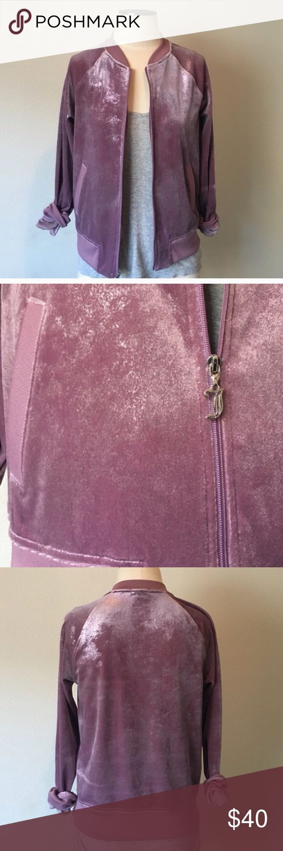 NWOT❗Juicy Couture ️Purple Shimmer Velour Jacket Juicy couture jacket I got and have yet to wear! Been hanging up in my closet. I still very much love it! I may or may not decide to keep it. But im just trying to declutter things I dont use or have yet to and so this made the posh list! If you want to bundle with the matching pants let me know! Juicy Couture Jackets & Coats Blazers
