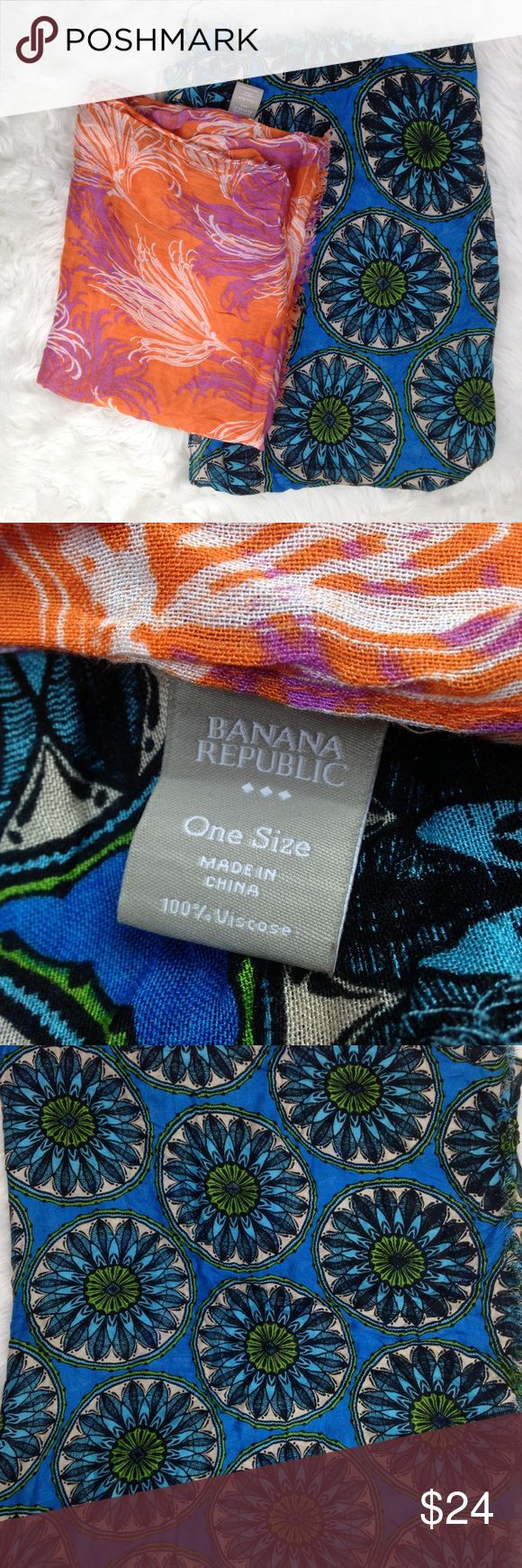 """Lot of 2 Banana Republic Abstract Printed Scarves These are really beautiful light weight scarves! The first one is the tidal wave pattern and the orange one is called orange poppy.  72"""" x 23"""" Banana Republic Accessories Scarves & Wraps"""