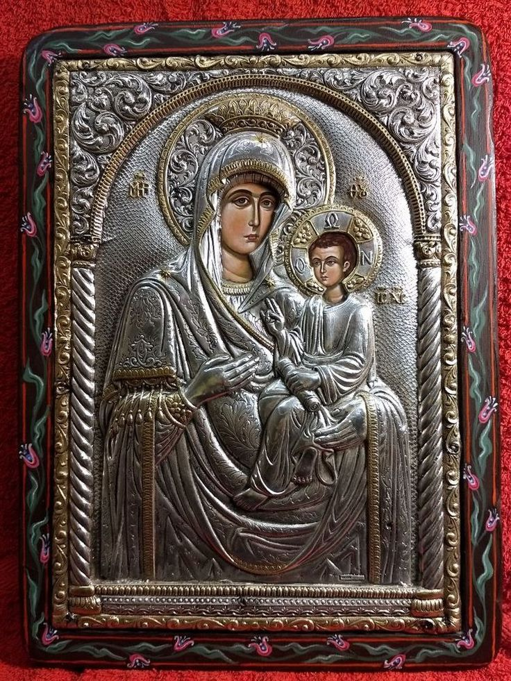 Silver 925 Virgin Mary And Child Greek Orthodox Icon