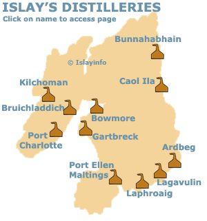 Islay Malt Whisky Distilleries Map - distillery tours