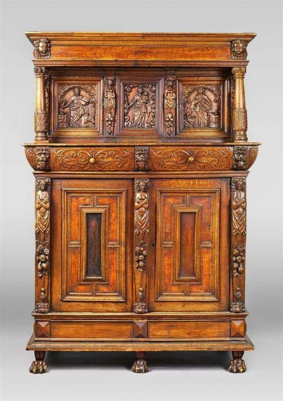 German Baroque Oak Wardrobe, 17th Century.