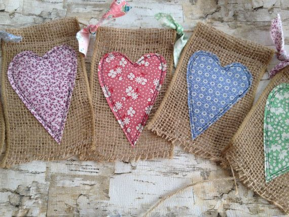 Burlap Heart Banner Large Burlap Flags 6 Foot by QuiltedCupcake, $25.00