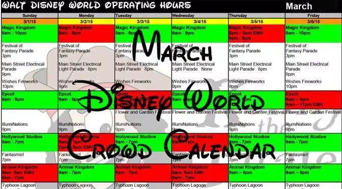2016 March Disney World crowds calendar, park hours, show schedules, fastpass dates, dining booking dates, best parks