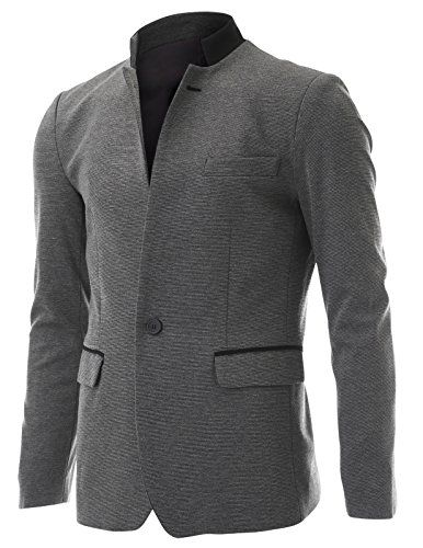 FLATSEVEN Mens Casual Slim fit 2 Tone Mandarin Collar Blazer Jacket with Pocket Flaps (BJ501) Grey, L (US Small / 36~38) FLATSEVEN http://www.amazon.com/dp/B00NQ29JJ2/ref=cm_sw_r_pi_dp_OjIOwb1KZR4PZ