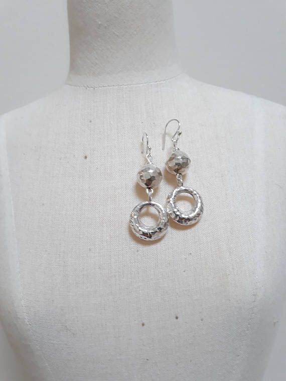 Beaten sterling silver earrings