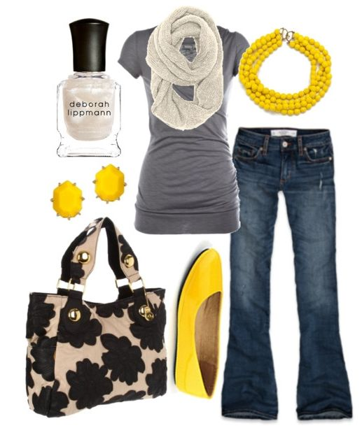 I like the yellow accents: Colors Combos, Yellow Flats, Pop Of Colors, Grey Yellow, Yellow Shoes, Yellow Accent, Spring Outfits, Gray Yellow, Yellow Accessories