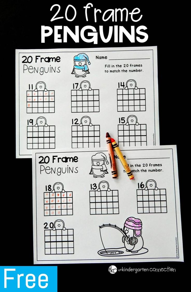 This penguin 20 frame printable is perfect for Pre-K and Kindergarten students who are learning teen numbers, counting, and 20 frames.