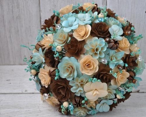 Wood Wedding Bouquet - Rustic -  Blue Brown | AccentsandPetals - Wedding on ArtFire