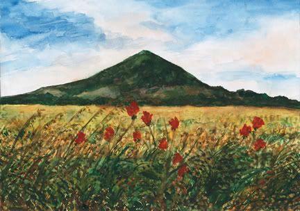 Lovoš, basalt hill, České středohoří, north Bohemia. Watercolor by Jana Haasová