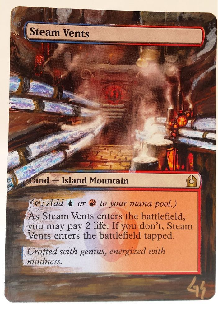 MTG Altered Art Steam Vents R2R Hand Painted Full Art OOAK Rare Magic Card #WizardsoftheCoast Cool~