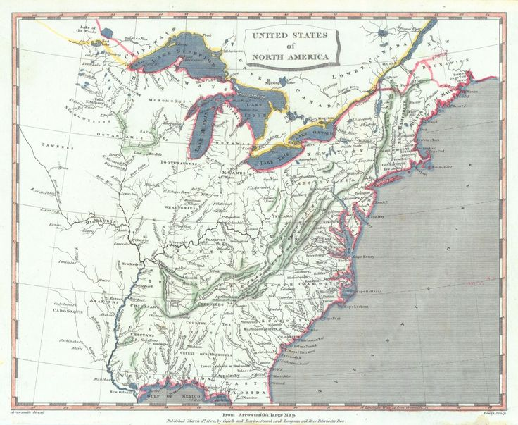 Map Antique United States Of North America From Arrowsmith S Large Map Shows Locations