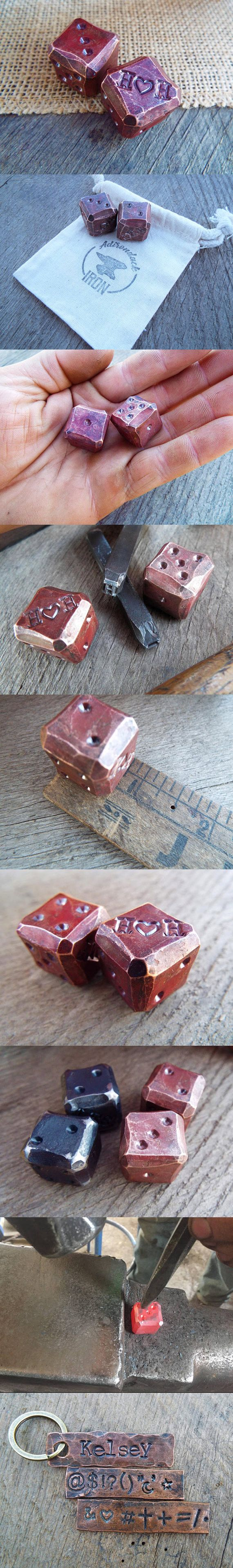 Blacksmith forged copper dice. 7th anniversary gift for him. Customized copper anniversary gift. Personalized dice. Customize gift handmade