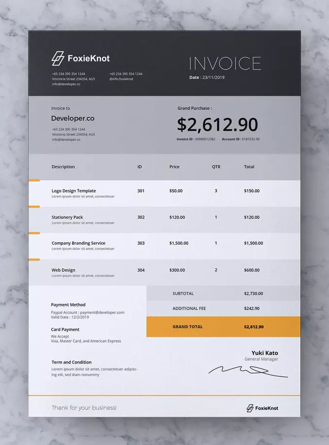 Foxieknot Business Invoice By Rahardicreative On Envato Elements Invoice Template Invoice Design Templates