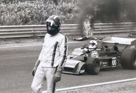 David Purley walks away in despair from the burning wreck of Roger Williamson's car at the Dutch Grand Prix 1973.