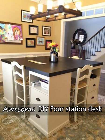 Awesome DIY Four station desk I just love this idea it is so simple yet looks like it cost $1000s, They used tops from Ikea and says that after his kids ge