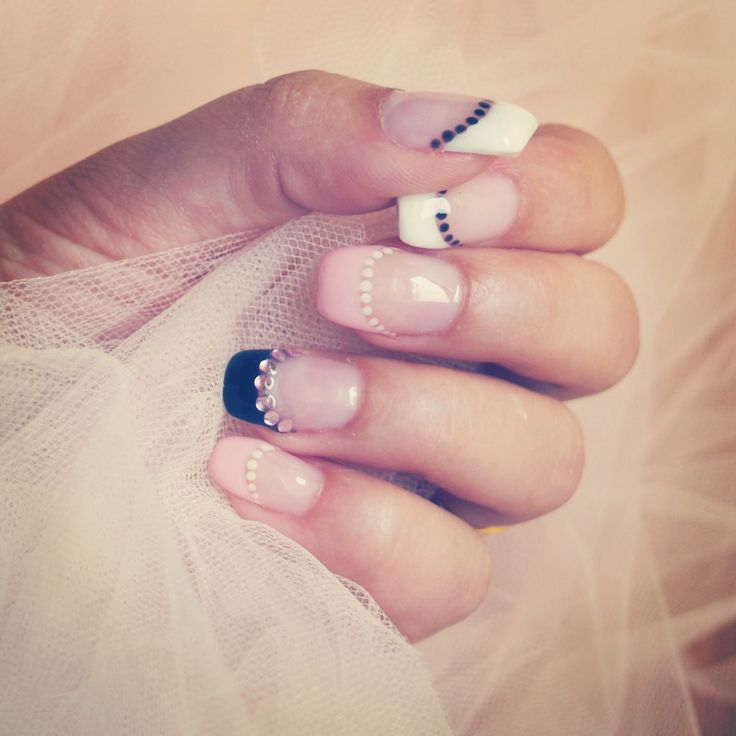 Wedding nails in baby pink, black and white, french manicure and fake diamonds