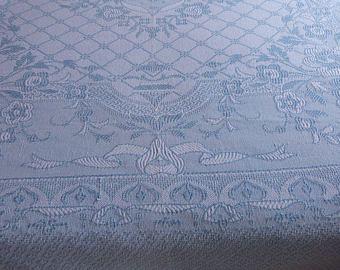 Antigua colcha francés lanzar colcha cama propagación azul algodón tejido reversible diseño romántico franjas rosas w, ropa de cama francesa vintage
