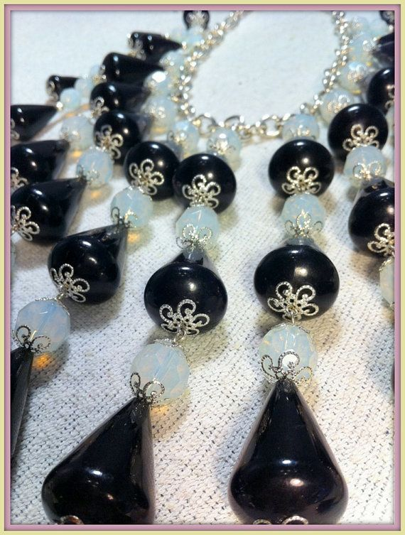 Opal Glass and Black Necklace & Earring Set by CiaoBellaJoyaJewels, €85.00