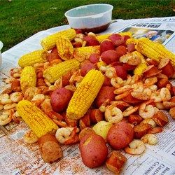 Dave's Low Country Boil Allrecipes.com Posted just for times and approx. proportions.  Would add at least a half cup Old Bay and 1 can of beer.  Lemons,Garlic to the mix. 3quarts water/1 can beer and 1/2 cup old bay