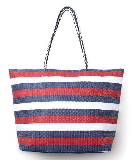 Flaunting bold stripes and a spacious interior, this paper straw tote offers an chic carry-all option.