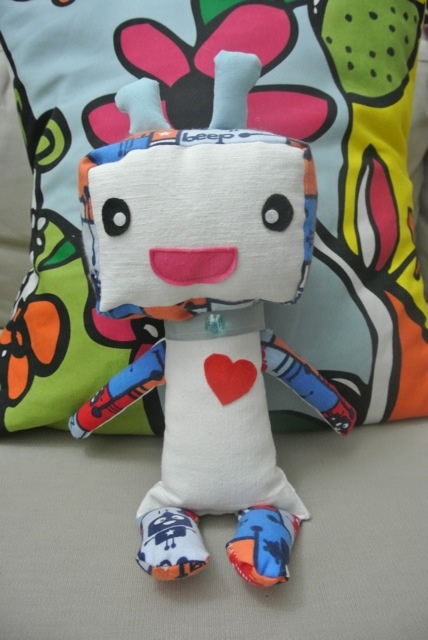 """Blu PikuBot"" - approx 10"" tall. Made with soft cotton fabrics and felt accents. Collar has a small bead accent. (You can specify if you wish to have the PikuBot made for under-3 yrs, and any small bead elements will be removed.)"
