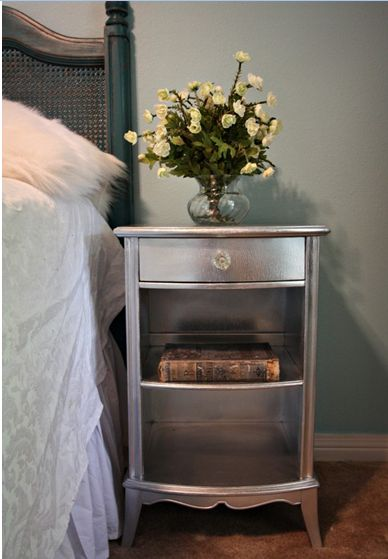 Chrome spray paint gives a sparkles and brightens up the entire bedroom, living room.