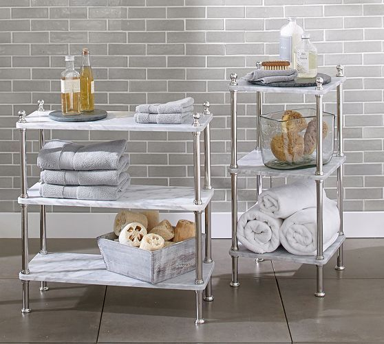 16 best images about bathroom on pinterest shelves for Small bathroom etagere