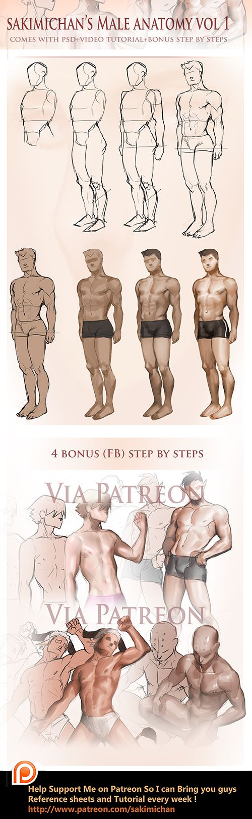Male Fullbody step by step tutorial by sakimichan on DeviantArt
