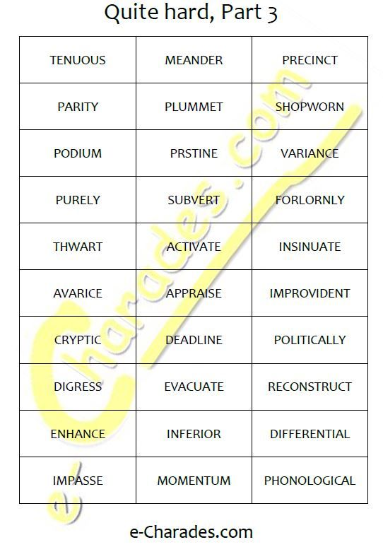 13 best Free printable word lists for charades and ...