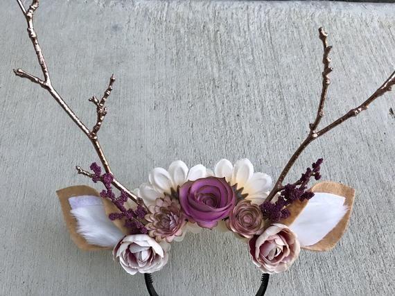 Deer Headband With Flowers Rose Gold Antlers Deer Costume Halloween Headband Fits Kids And Adults In 2020 Floral Headbands Headbands Deer Costume