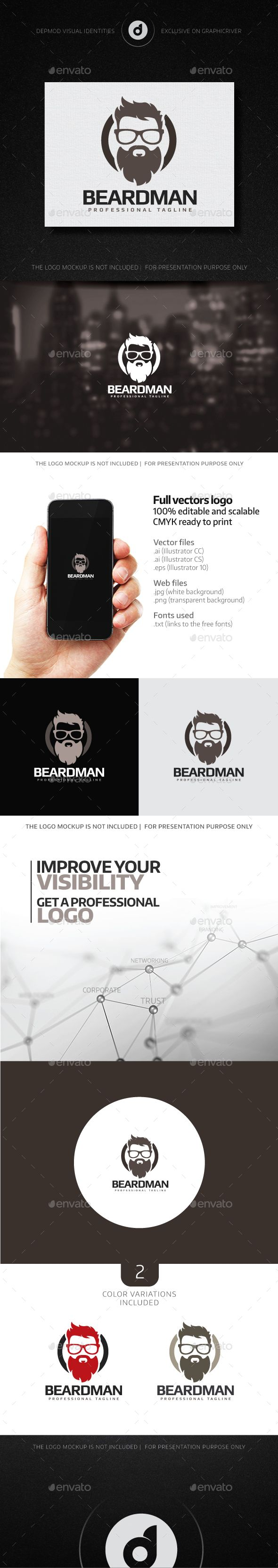 Beard Man Logo Template Vector EPS, AI. Download here: http://graphicriver.net/item/beard-man-logo/13718829?ref=ksioks