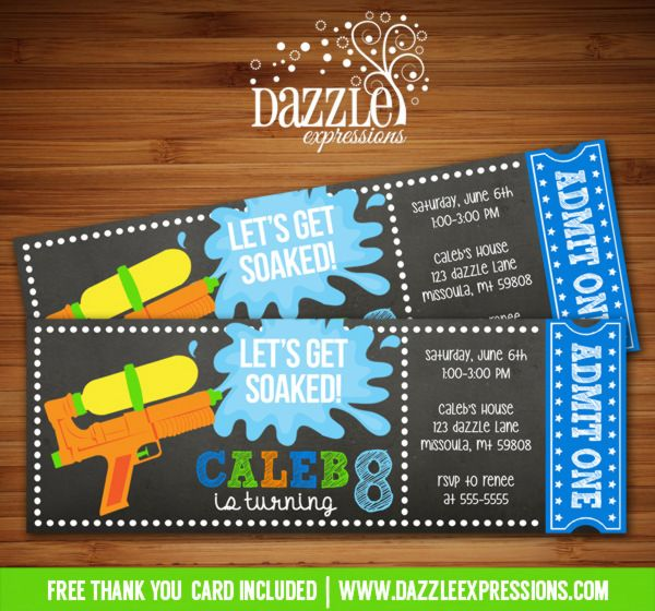 Printable Chalkboard Water Gun Party Ticket Birthday Invitation | Squirt Gun | Super Soaker | Pool Party | Splish Splash | Summer | Water Party | Water Balloons | Digital File | Kids Birthday Party Idea | FREE thank you card | Party Package Available | Banner | Banner | Cupcake Toppers | Favor Tag | Food and Drink Labels | Signs |  Candy Bar Wrapper | www.dazzleexpressions.com