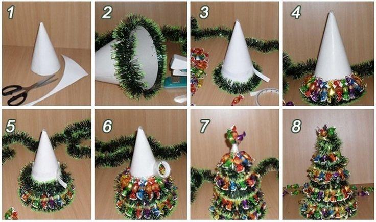 Idées créatives - Mini Arbre de Noël de bricolage avec des chocolats et Tinsel