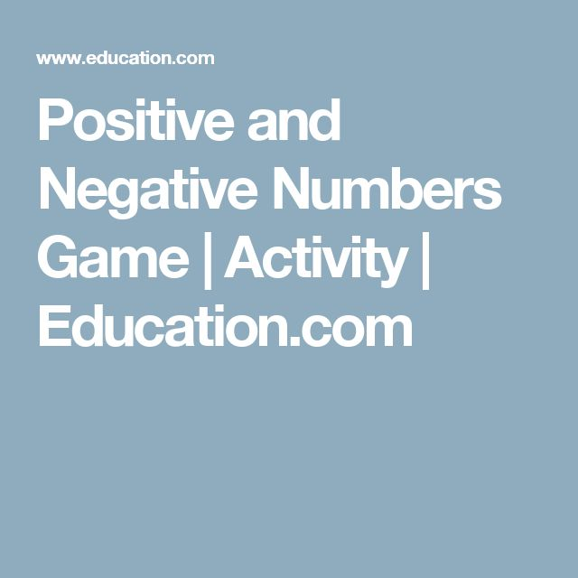 Positive and Negative Numbers Game | Activity | Education.com