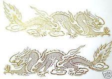 2 AUFKLEBER Sticker DRACHE Drachen Dragon China gold xl - je 33x9 cm