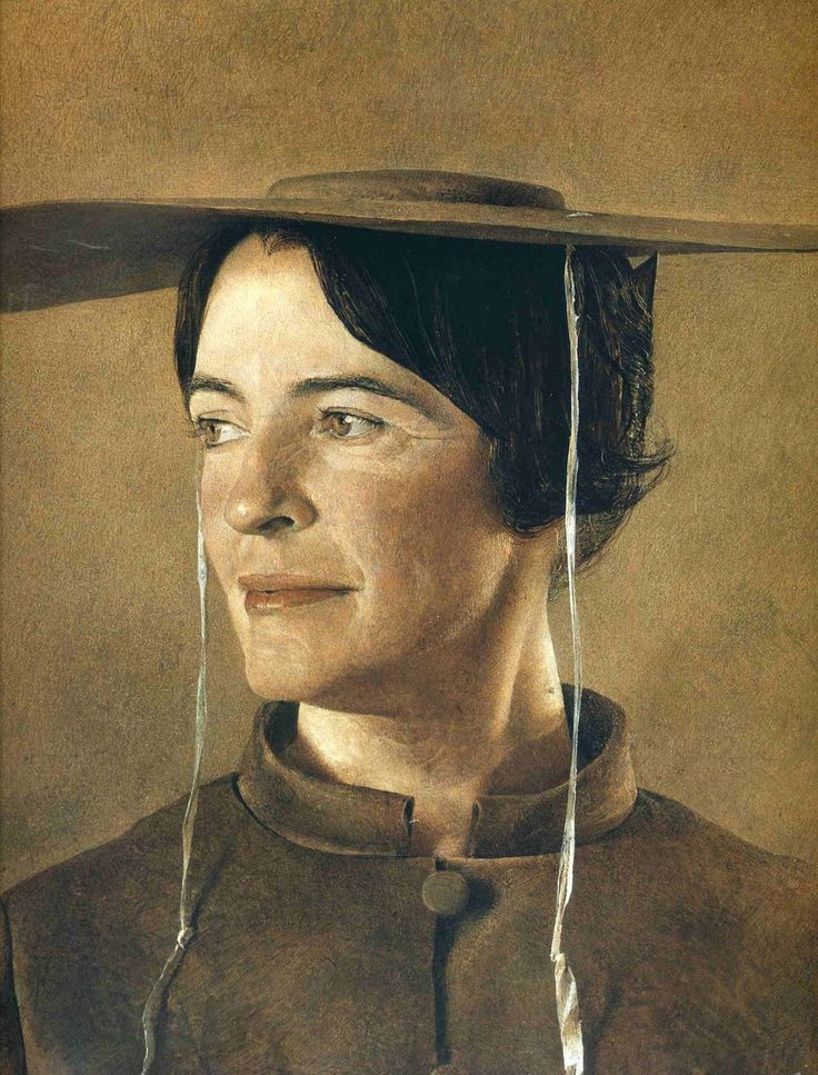 Andrew Wyeth - Betsy Wyeth portrait featured on the cover of the program from the exhibition in the Chicago Institute of Arts.
